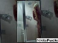 Solo video of spectacular pornstar Nikita Von James with massive boobs taking shower 5
