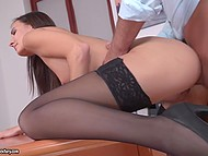 Secretary usually brings boss coffee in morning, but today she comes to have his cock in pussy 5