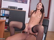 Secretary usually brings boss coffee in morning, but today she comes to have his cock in pussy 8