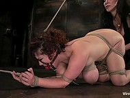 Tied up girl with big tits was electrocuted before mistress treated her pussy with fist and vibrator