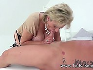British mature Lady Sonia skilfully sucks and strokes cock with hands until guy cums 5