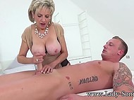British mature Lady Sonia skilfully sucks and strokes cock with hands until guy cums