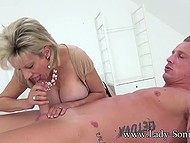 British mature Lady Sonia skilfully sucks and strokes cock with hands until guy cums 8