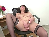 Mature secretary with big boobs stayed in office only to spend a good time with vibrator
