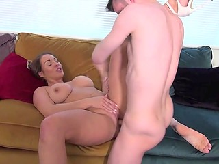 Youngster pulled his pants down and let big-bootied stepsister play with hard cock