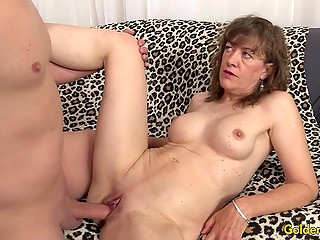 Mature lady with big tits widened her legs to receive hard penis in shaved vagina faster