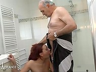 Pretty French had sex with youngster in bedroom then gave old man blowjob in bathroom