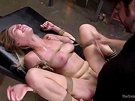 Perverts tied up good-looking blonde then thoroughly penetrated her in basement