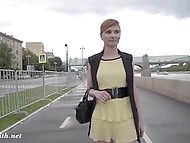 Red-haired doll from Russia skillfully lifts up dress to show sissy right on the waterfront