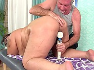 Old man gave charming BBW relaxing massage and excited her with sex toys