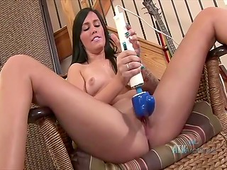 Pretty girl is in possession of powerful vibrator and she can't wait to masturbate pussy