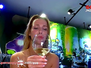 Slut drinks champagne with sperm after guys fuck her in German amateur porn scene