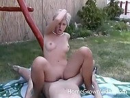 Sweet girl and her young man have day off and spend it fucking at backyard of country house
