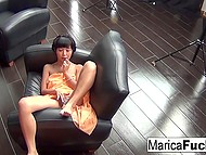 Japanese MILF Marica Hase left camera and came downstairs to masturbate pussy and oil body