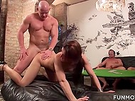 Old fellas are drilling nice babe in secret place where women get their sexual experience