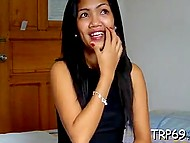 Petite Thai newbie finished important conversation by phone and put pussy of interviewer's cock