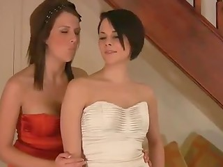 Two cuties in sexual dresses chatting