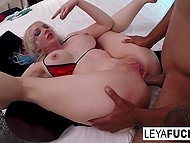 Big-butted yes-girl Leya Falcon has her mascara run because of hard anal fucking black man gives her