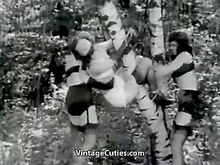 Two females tie up girl and bring to forest where are spanking her while she is hanging on birch