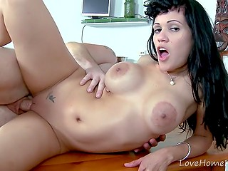 Busty Latina lost card game and now must repay debt with her mouth and pussy