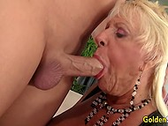 Bald stallion was very happy to fuck old blonde with big boobs and cum on tongue 5