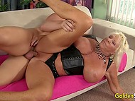 Bald stallion was very happy to fuck old blonde with big boobs and cum on tongue 7