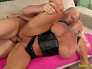 Bald stallion was very happy to fuck old blonde with big boobs and cum on tongue 8