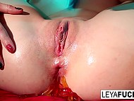 Shameless Leya Falcon puts some sweets in tight anal hole before eating it in solo scene 10