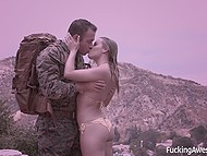 Nice blonde comes to pool to meet her soldier and she lets him fuck amazing pussy 5
