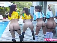 Sexy fans of Brazilian and Argentinian football teams play dirty games with cameraman by pool