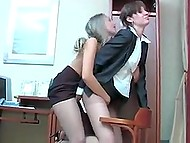 Couple of lesbian secretaries rub warm pussies without removing their pantyhose in office 11