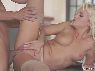 Grey-haired dude surprised wonderful girl and worked hard on her sexy hole