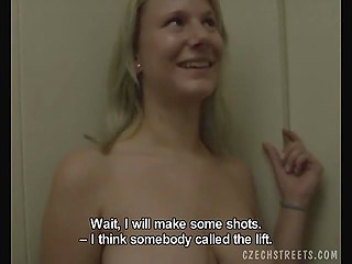 Nice Czech teen is happy because handsome man with camera nails her in elevator