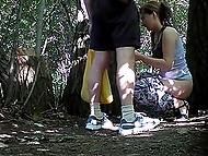 Tricky voyeur sets hidden camera in trees, where random girls often come to pee 4