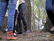 Tricky voyeur sets hidden camera in trees, where random girls often come to pee 6