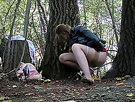 Tricky voyeur sets hidden camera in trees, where random girls often come to pee