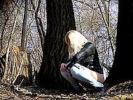 Tricky voyeur sets hidden camera in trees, where random girls often come to pee 8
