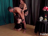 Overbearing mistress and her dutiful intern make man get through hard sexual punishment 5
