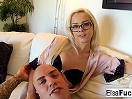 Petite sweetie Elsa Jean with glasses and trimmed cunny makes love to bald fellow 4