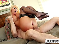 Muscular dude entered bedroom where mesmerizing blonde in fishnet stockings was impatiently waiting for sex