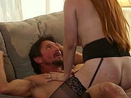 Bearded husband fucks redhead Penny Pax in stockings and ejaculates on shaved pussy 4
