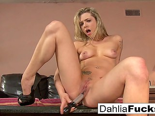 Splendid blonde Dahlia Sky lives alone in apartment and can have fun with vibrator any time
