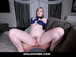 Cutie really needed help, so she had to blow stepbrother's cock and take it in hairy pussy
