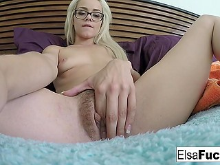 Smoking-hot blonde with glasses explores her tight pussy and films everything on camera