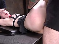 Searing brunette was tied by strict guy so now he can drills her juicy holes without problems 4