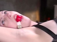 Searing brunette was tied by strict guy so now he can drills her juicy holes without problems 6