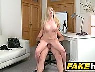 It's kinda new for British porn agent to put busty Russian blonde's pussy on his strong stick 9