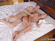 Fashionable blonde with petite body talks about her preferences and enjoys tender sex 5