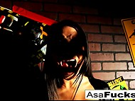 Big-tittied Asian Asa Akira woke up from nightmare then got fucked by zombie 4