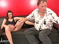 French cutie agrees to give own pussy to two guys and one sneaky old man 4